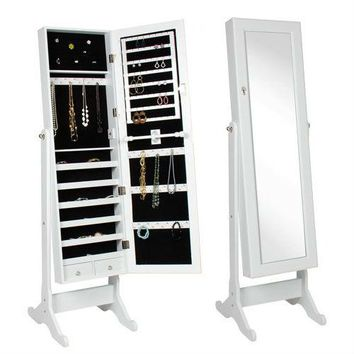 White Wood Jewelry Armoire Cabinet Mirror