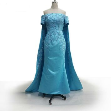 Mermaid dress special occasion dresses beaded applique evening dress with cape