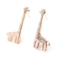 Miniature Giraffe Shaped Animal Stud Earrings in Rose Gold