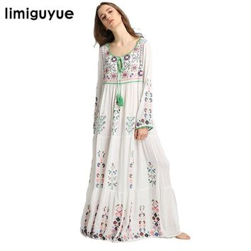 limiguyue floral embroidery mexican dress women white long maxi tassel floor length dress boho people hippie chic dress Z0089