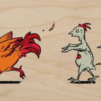 'Zombie Attack' Funny Rooster Chicken Running From Zombies - Plywood Wood Print Poster Wall Art