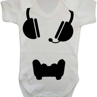 Gamer Baby Headset And Controller Playstation Style Parody Gaming Baby Onesuit Vest