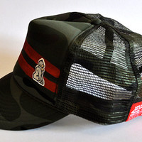 Bootlegger Trucker Cap (red on camo)