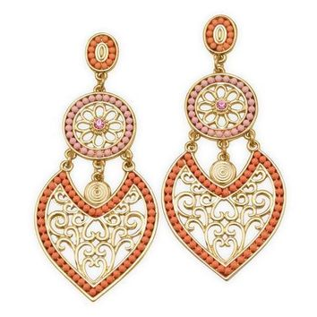 Beaded heart earrings - Ornate Gold Tone Fashion Earrings with Pink and Orange Beads