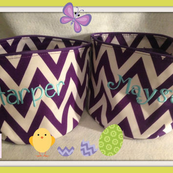 Purple Chevron  personalized Basket , Chevron Bucket , Easter Bucket ready to Ship