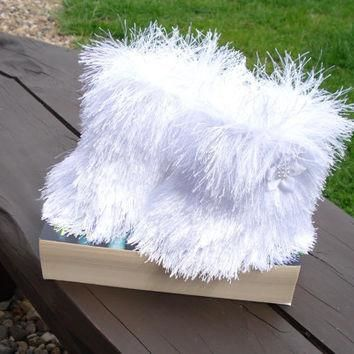 Baby Ugg boots, Snowboots , white booties, furry booties, christmas booties, prewalker