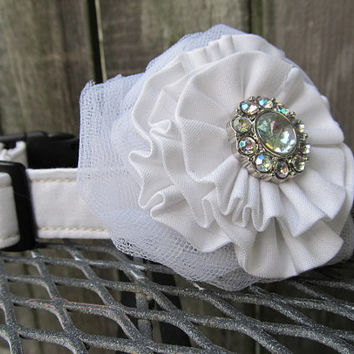 Fabric Collar and Flower MADE to ORDER Wedding Collar and Flower combo - Wedding Dog Collar