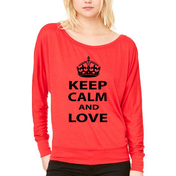 keep calm and love liam payne WOMEN'S FLOWY LONG SLEEVE OFF SHOULDER TEE