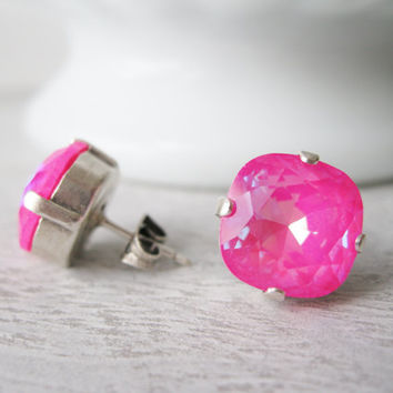 Neon Pink Studs, XL stud earrings, Bright pink post earrings, Summer jewellery, 80s style, ultra pink AB, Prom jewellery, Rhinestone studs