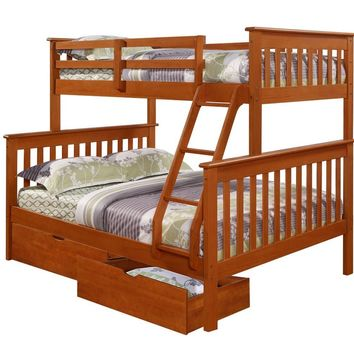 Jayden Espresso Twin over Full Bunk Bed with Storage