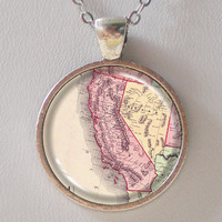 California, Vintage Map Necklace- Antique Map of California, Old Map Series