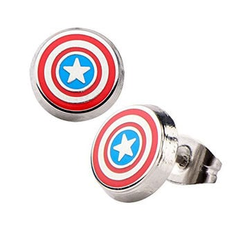 Enamel Captain America Logo Round Ear Studs. Sold as a pair.