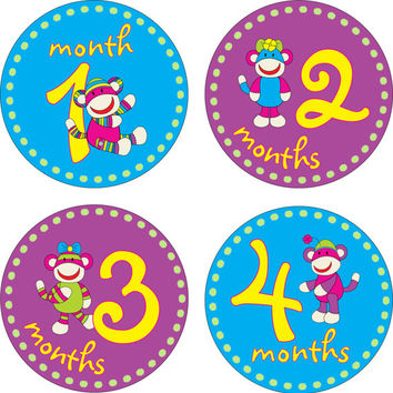 Baby Month Stickers Baby Monthly Stickers Girl Monthly Shirt Stickers Monkey Baby Shower Gift Photo Prop Baby Milestone Sticker
