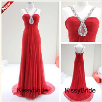long prom dress homecoming dresses / chiffon prom dress / red evening dress / long evening gown /party dress
