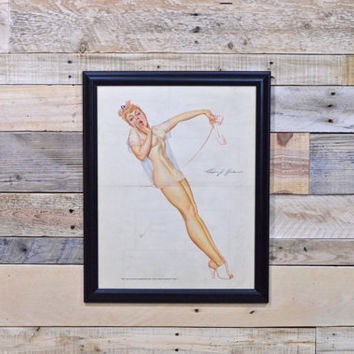 Patriotic Pinup Girl Art, Original Petty For Esquire, Vintage Petty Girl