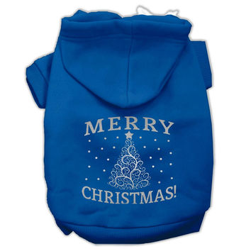 Shimmer Christmas Tree Pet Hoodies Blue Size Sm (10)