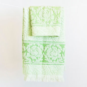Vintage Cannon Mint Green Hand Towel and Washcloth, Flower Print, Made in USA, Bathroom Decor, 100% Cotton