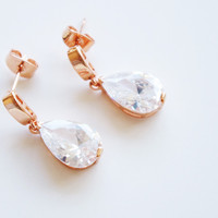 18K Rose Gold plated Tear drop Austrian crystal earrings