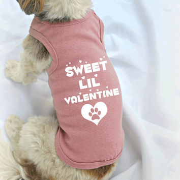 Valentines Day Dog Tanks for Dog Lovers. Sweet Lil Valentine Small Dog Shirt. Small Pet Clothes. Gift for Pet Lover.