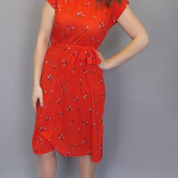 Vintage 70s 80s Red Orange Cotton Floral Print Midi Polka Dot Dress Summer Sundress Size Small Medium Boho Hipster Party Beach Folk Indie