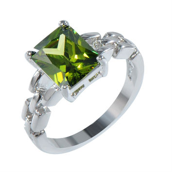 Charming Peridot Sapphire Female Engagement Ring White Gold Filled Jewelry Vintage Wedding Rings For Women Bijoux Femme RW1183