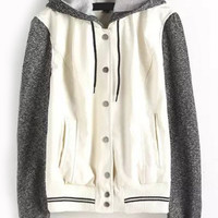 White Striped Hooded Drawstring Contrast Long Sleeve Jacket