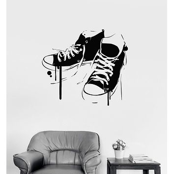 Vinyl Wall Decal Sneakers Shoes Youth Decor Teen Room Stickers Mural Unique Gift (ig3203)