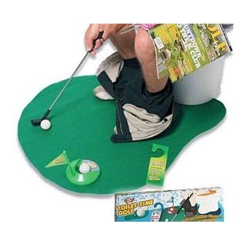 Toilet Bathroom Golf Mat Set Game Potty Putter Novelty