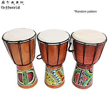 Orff World Djembe Drummer Percussion 6 inch Classic Painting Wooden African Style Hand Drum For Sale membranophone with pattern