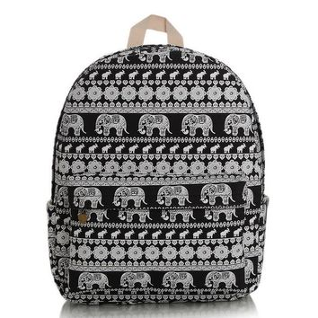 Day-First™ Cute Elephant Canvas Lightweight College Backpack