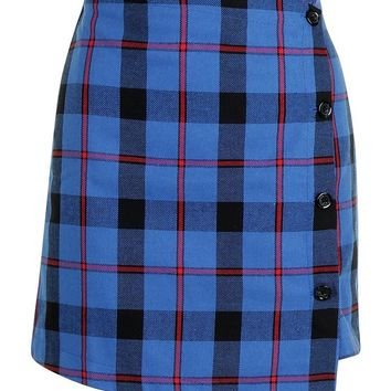 Woven Check Button Detail Mini Skirt | Boohoo