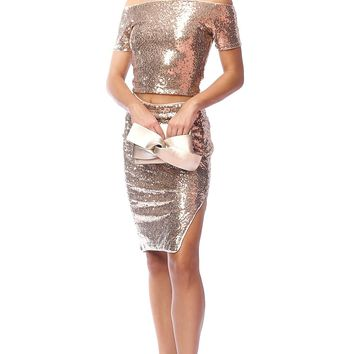 Bubble Pop Sequin High Slit Midi Skirt