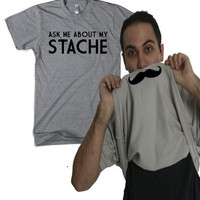 Ask Me About My mustache shirt flip S-3XL