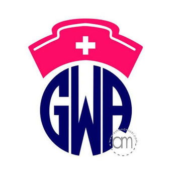 Nursing Hat Monogram Decal