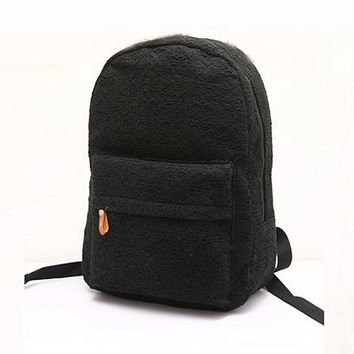 Fashion Cute Girls Lace Canvas Backpack Bag School Bag Bookbag Black