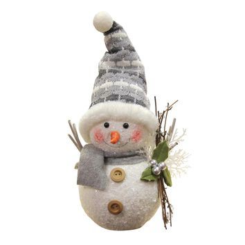 """10"""" Alpine Chic Gray and White Snowman with Twigs and Mistletoe Christmas Decoration"""