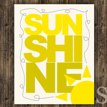 Sunshine - Yellow Inspirational Picture, Wall Decor, Poster, Digital Print - 8x10