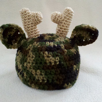 CUSTOM Camo Deer Antler Hat - Baby Toddler Youth Teen Adult Halloween Costume - Handmade by The Hippie Patch