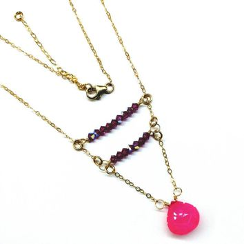 Hot Pink Crystal Cross Bar Gold Filled Necklace