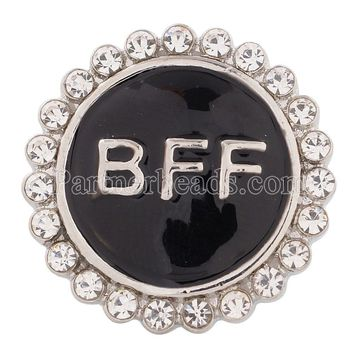 Partnerbeads 20MM snap Best Forever Friends Antique Silver Plated with Enamel interchangable snaps jewelry KC8559