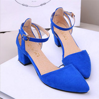 Flock Buckle Pointed Toe Office Shoes