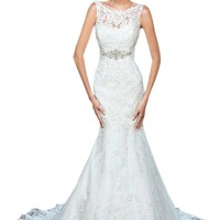 ZHUOLAN White Strap Mermaid Gown in Satin Wedding Dress