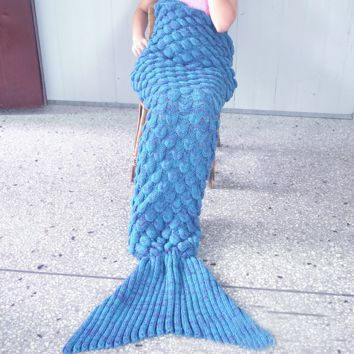 Womens Knitted Sofa Bedding Mermaid Tail Blanket Home Christmas Gift