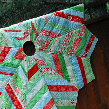 "Large Quilted Christmas Tree Skirt string pieced  54"" diameter Solstice by Kate Spain and Moda"