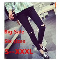 Big Plus Size High Elastic  Cotton Women Black High Waist Torn Jeans Ripped Hole Knee Skinny Pencil Pants Slim Capris S -XXXL