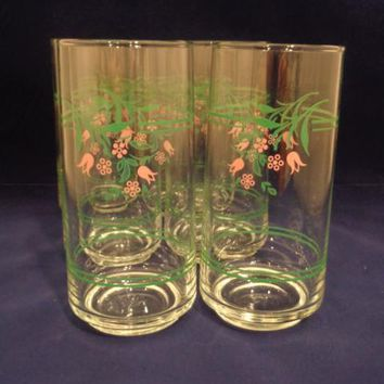 Vintage Glass Tumblers With Pink Tulips  S/6
