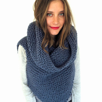 Chunky Soft Knit Poncho, Scarf, Cowl, Hood All in One // Armor Scarf  in Into the Mystic // Many Colors and Vegan Options Available