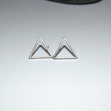 silver triangle stud earrings, open triangle studs, silver triangle earrings, everyday earrings, minimalist earring geometric earring