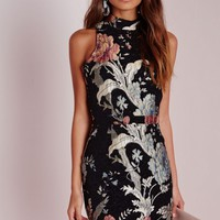 Missguided - Petite Tapestry Oriental Floral Mini Dress Black