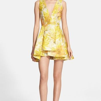 Women's Alice + Olivia 'Tanner' Floral Jacquard Fit & Flare Dress,